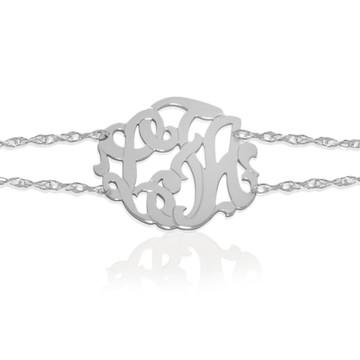 JBD237 Script Monogram Double Chain Bracelet