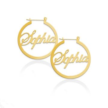 JBD336 Script Name Hoop Earrings