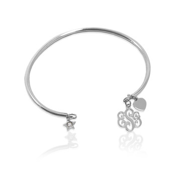 Smooth Wire Bracelet with Script Monogram