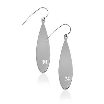 JBD357 Teardrop Earrings with Pierced Initial
