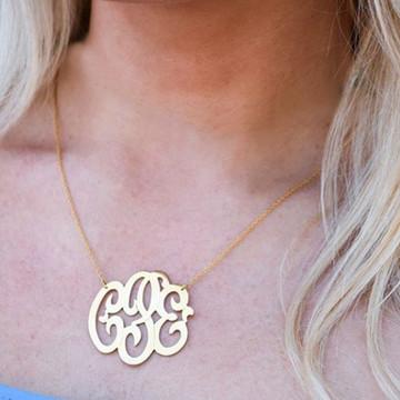 Gold Freeform Script Monogram Necklace