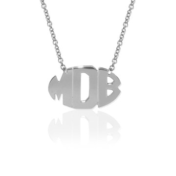Delicate 3 Initial Oval Block Monogram