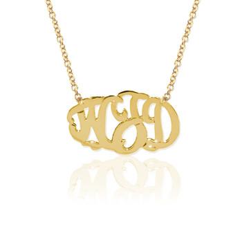 Gold Delicate 3 Initial Oval Script Monogram