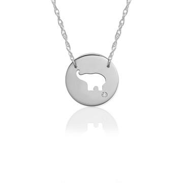 "1/2"" Elephant Disc Icon w Diamond Accent"