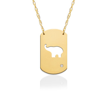 "3/4"" Elephant Dog Tag Icon w Diamond Accent"