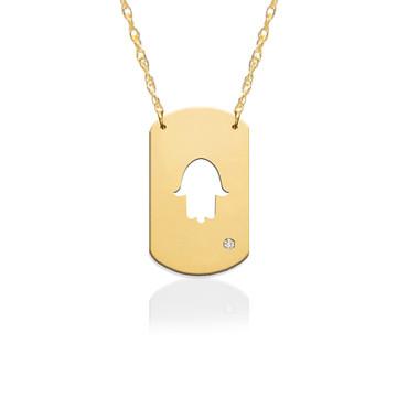 "3/4"" Hamsa Dog Tag Icon w Diamond Accent"