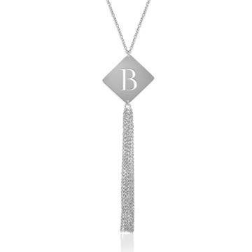 "7/8"" Diamond Shape Initial Pendant witth Tassel"