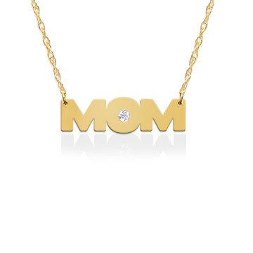 MOM in 14K Yellow Gold