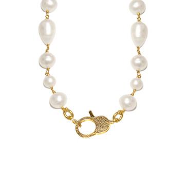 Diamond Lock & Pearl Necklace