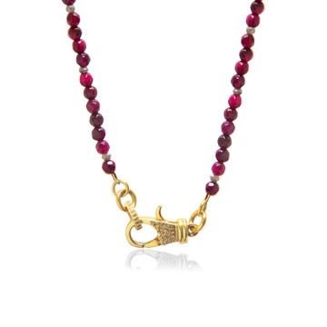 22K Gold over Sterling Silver Diamond Lock on Garnet Beaded Chain