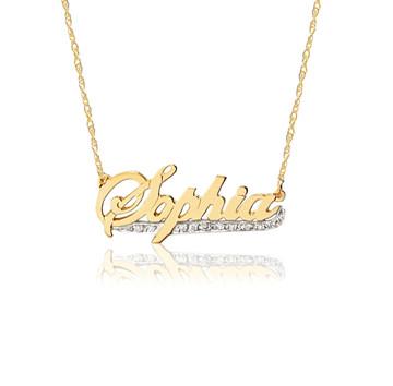 14K Gold Script Namplate & Diamond