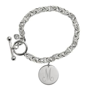 Sterling Silver Initial Disc Locket Bracelet