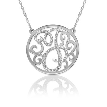 Diamond Lace Initial Pendant Necklace