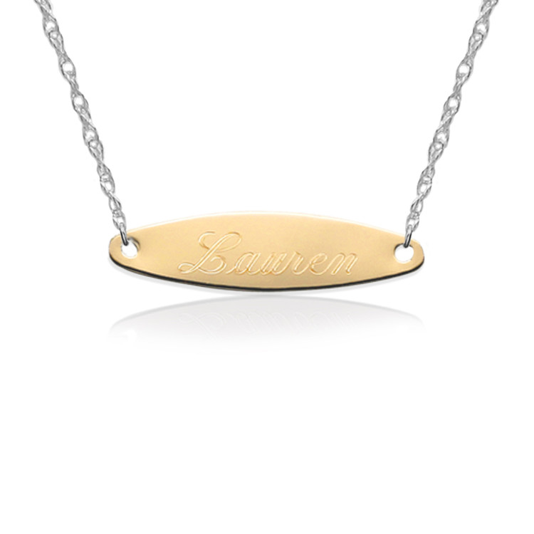 Gold Engraved Oval Tag on Sterling Silver Necklace