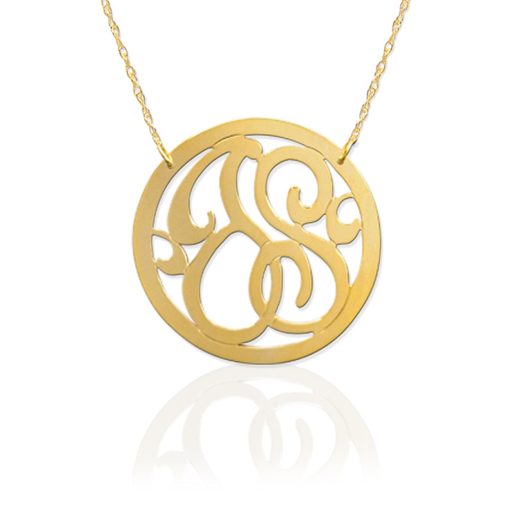 Gold 2 Initial Circle Monogram