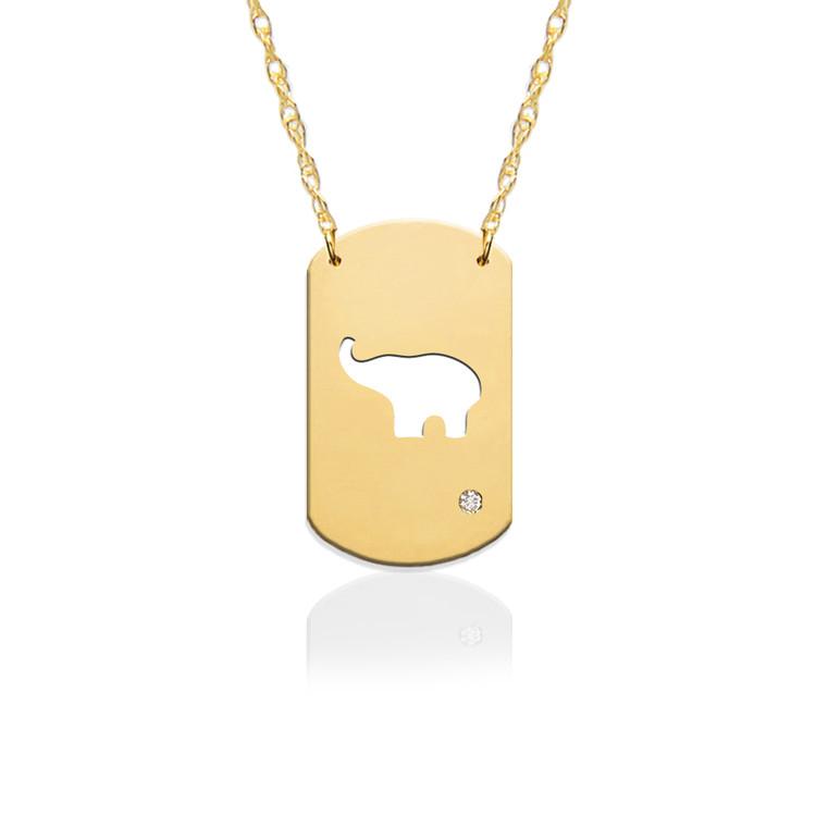 "3/4"" Elephant Dog Tag Icon w Diamond Accent"
