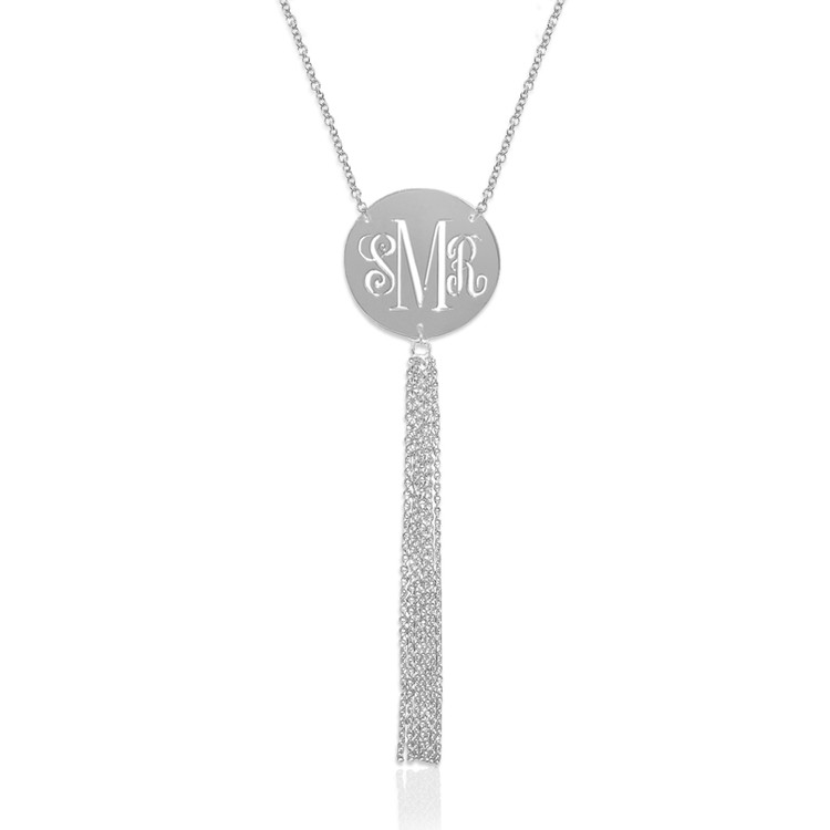Pierced Monogram Disc with Tassel