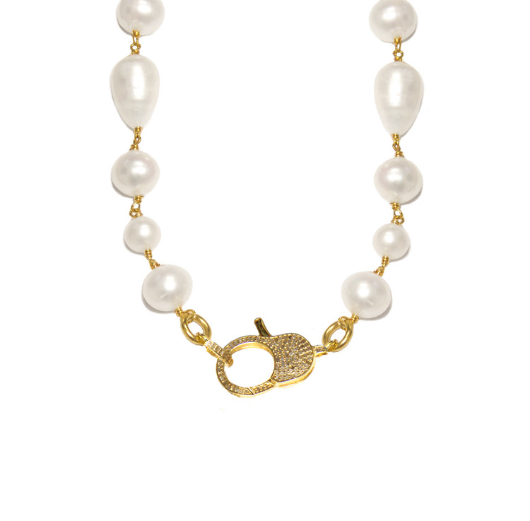 Diamond Lock & Pearl Necklace