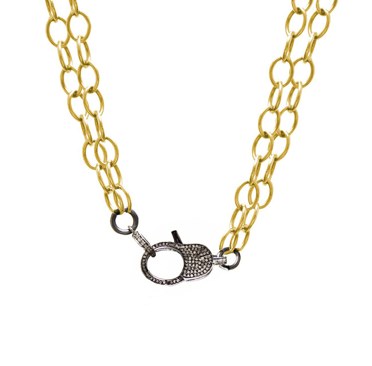 Pavé Diamond Lock & Double Cable Link Chain
