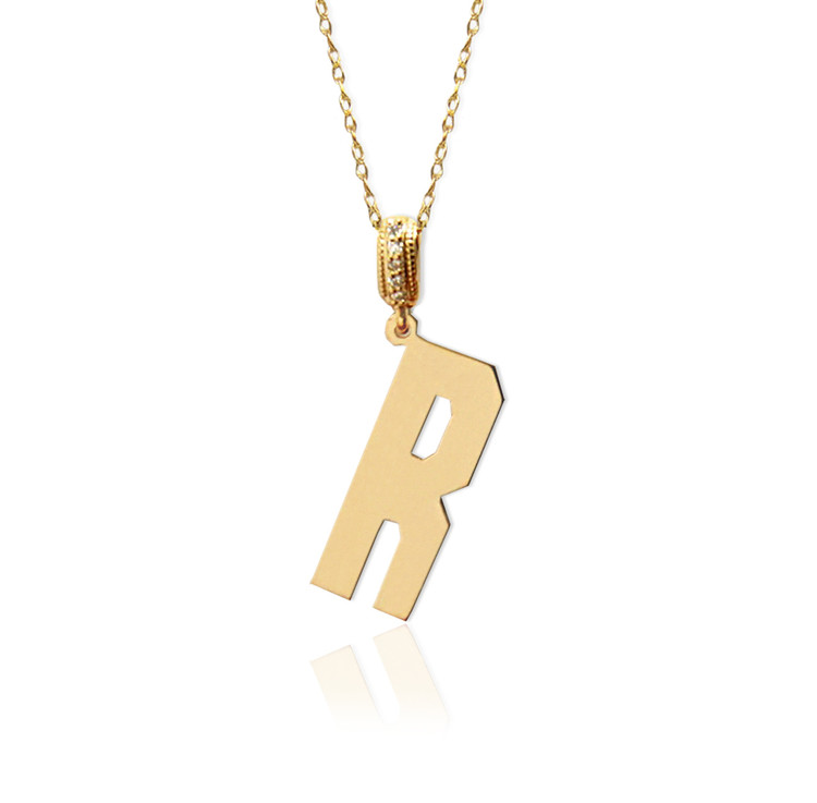 14K Gold Block initial With Diamond Bale
