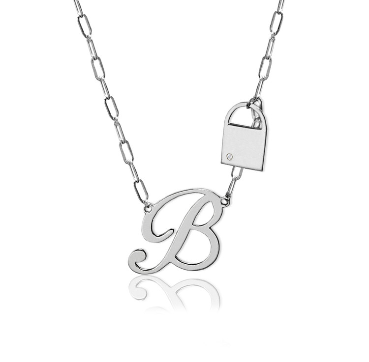 Fancy Script Initial and Lock with Diamond Accent