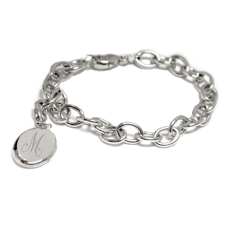 Sterling Silver Oval Initial Locket Bracelet