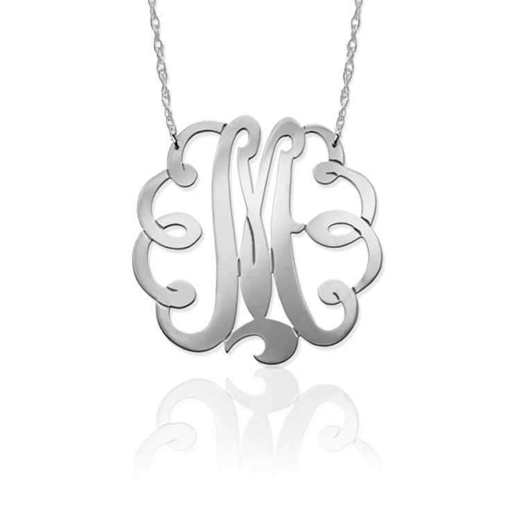 Swirl Initial Pendant on Split Chain