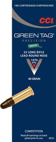 CCI 22LR  40gr Green Tag Competition Ammunition