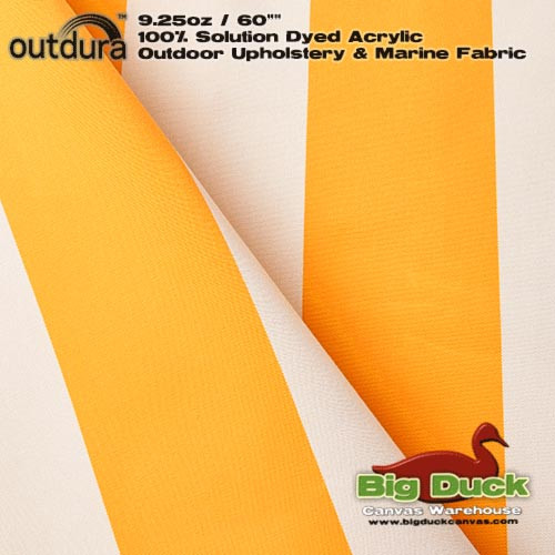 "Outdura™ 9.25oz/60"" Premium UV Marine & Awning Fabric YELLOW & WHITE STRIPE"