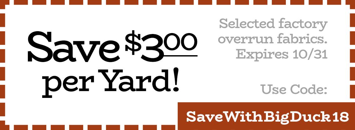 Save $3 per Yard Fabric Coupon