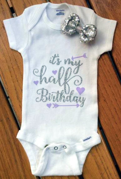 Girls Infant Silver And Lavender It S My Half Birthday