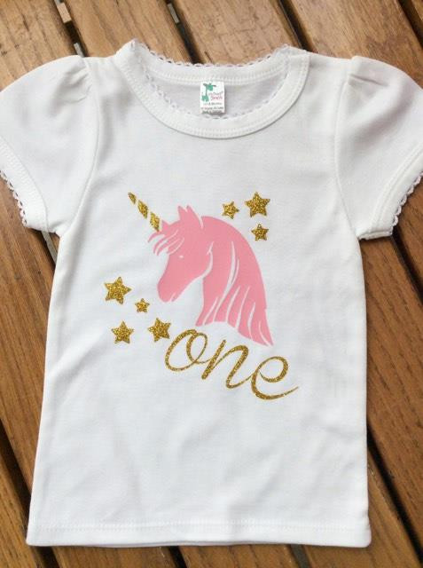 Girls First Birthday Unicorn With One Shirt Girls First