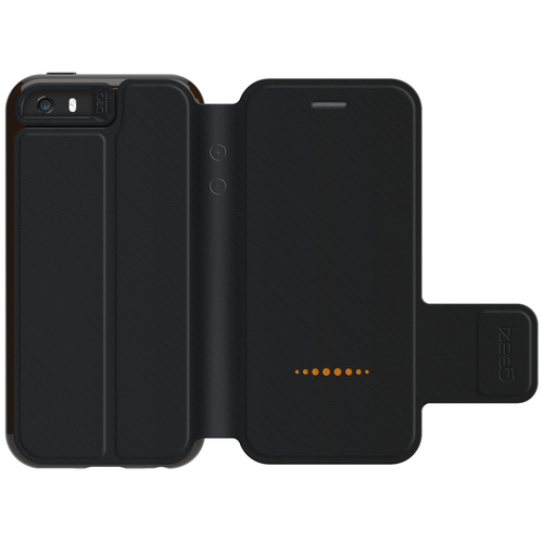 iPhone 5/5S/SE Gear4 D3O Black BookCase | Open Rear
