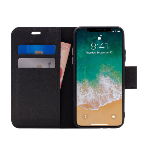 Broadway 2-in-1 RFID Shield Folio Case iPhone XS Max | Black | Open
