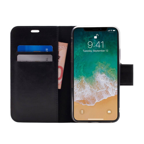 Caseco Broadway 2-in-1 RFID Wallet Folio iPhone XS Max | Black | Open