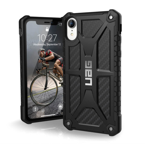 iPhone XR UAG Monarch Carbon Fiber Case | Front and Back