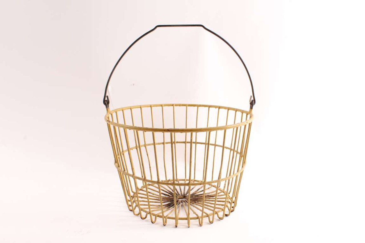 Country Vintage Yellow Wire Egg Basket