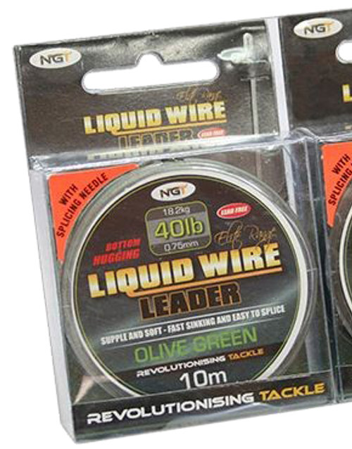 NGT 40lb Liquid Wire Leader-10m Spool Olive Green