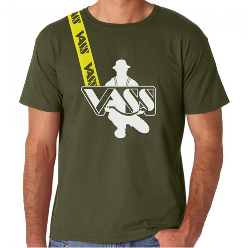 Vass Embroidered Khaki T-Shirt with Yellow Printed Vass Brace