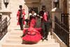red and black steampunk wedding dress