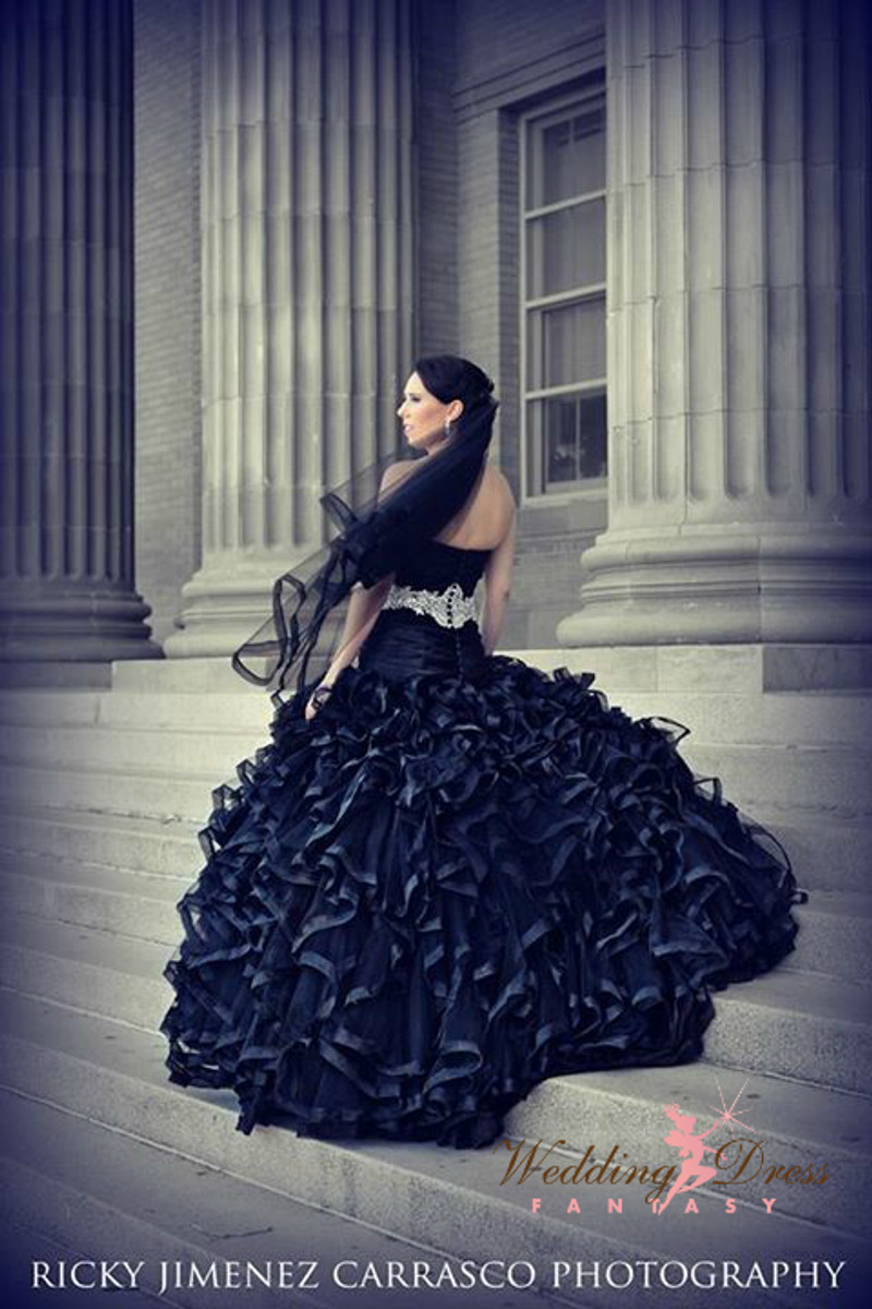 Black Wedding Dress with Tulle Ruffles
