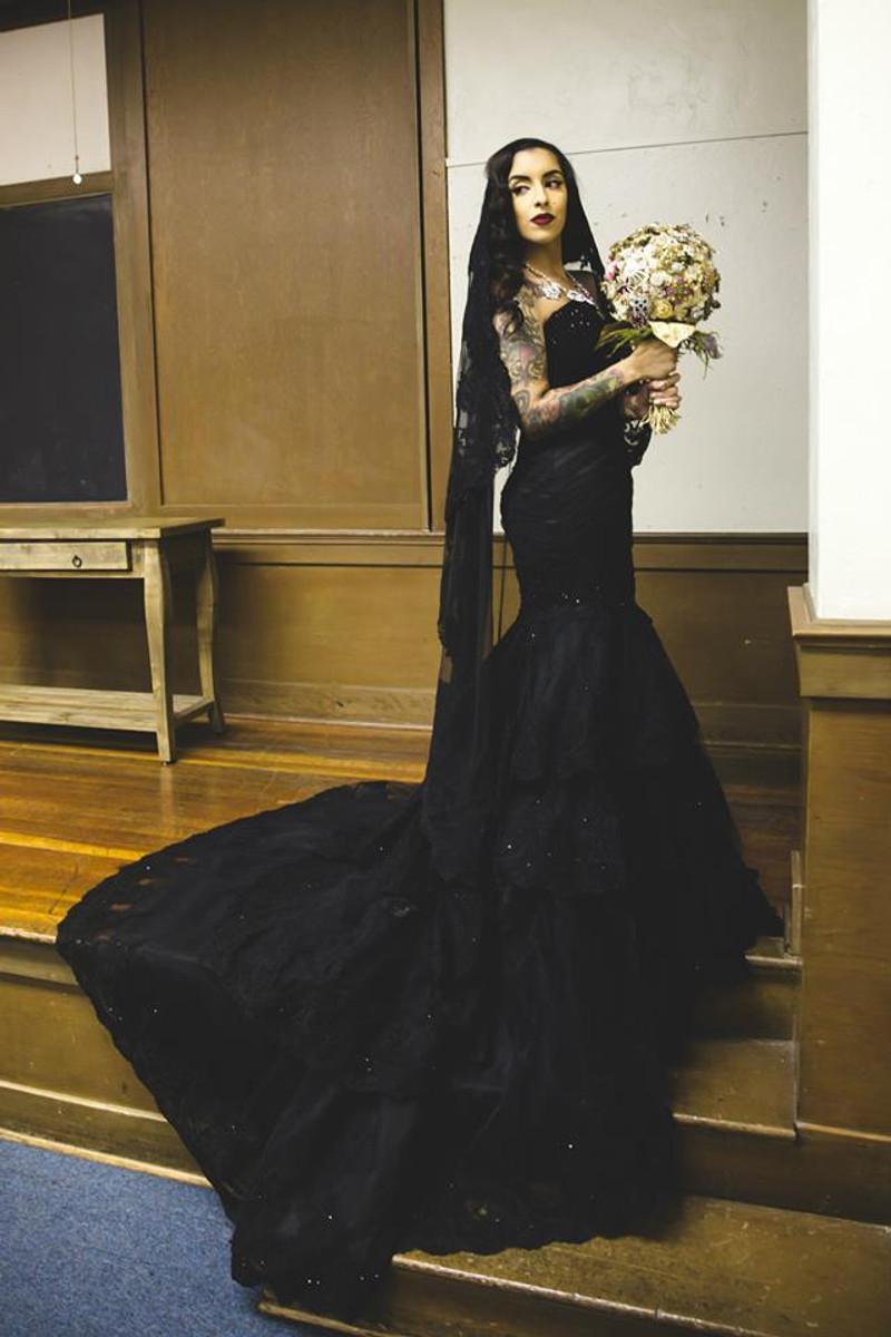 Black Wedding Dress made with luxury fabrics