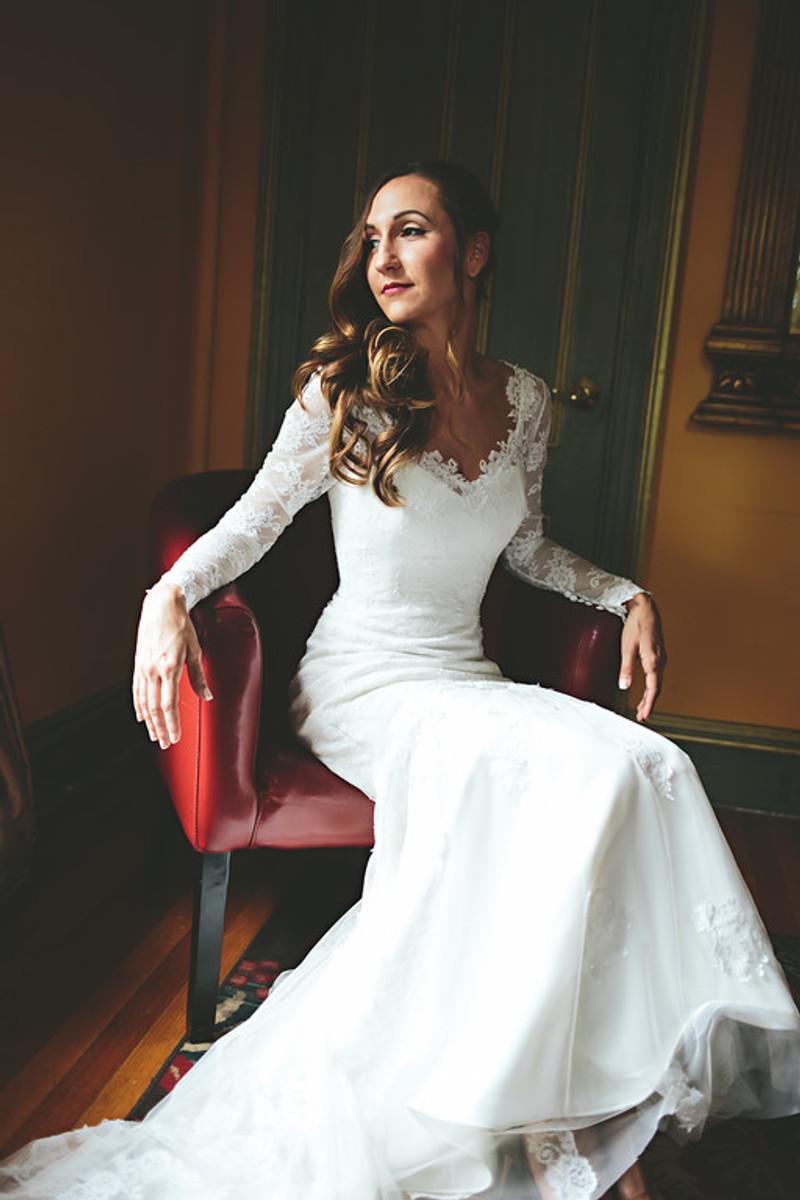 Vintage-Inspired Long Sleeve Lace Wedding Dress