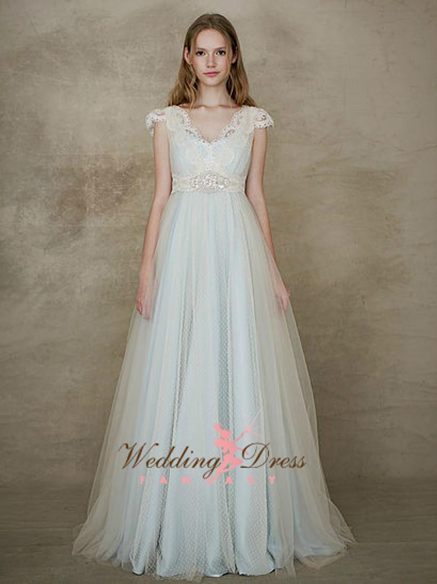 Baby Blue Wedding Dress with Ivory Swiss Dot Net - Wedding Dress Fantasy