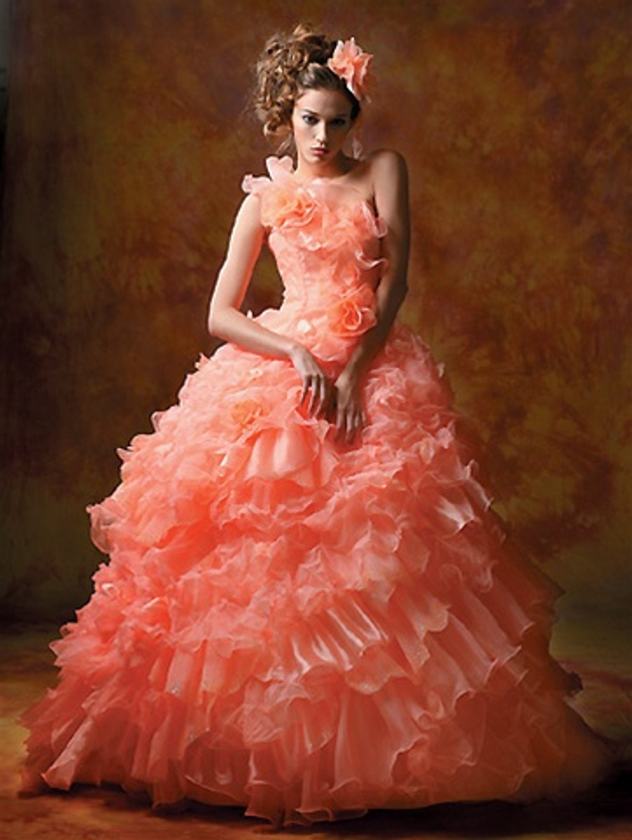 Coral wedding dress pink wedding dress pink wedding gown pink coral pink wedding dress available in every color junglespirit Images