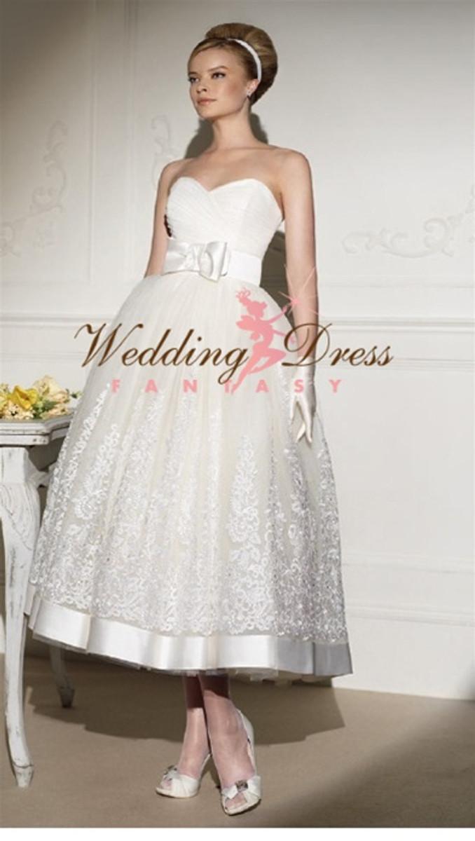 50s Wedding Dress Tea Length Wedding Dress