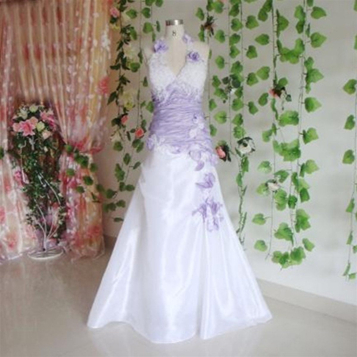 White and purple wedding dress images