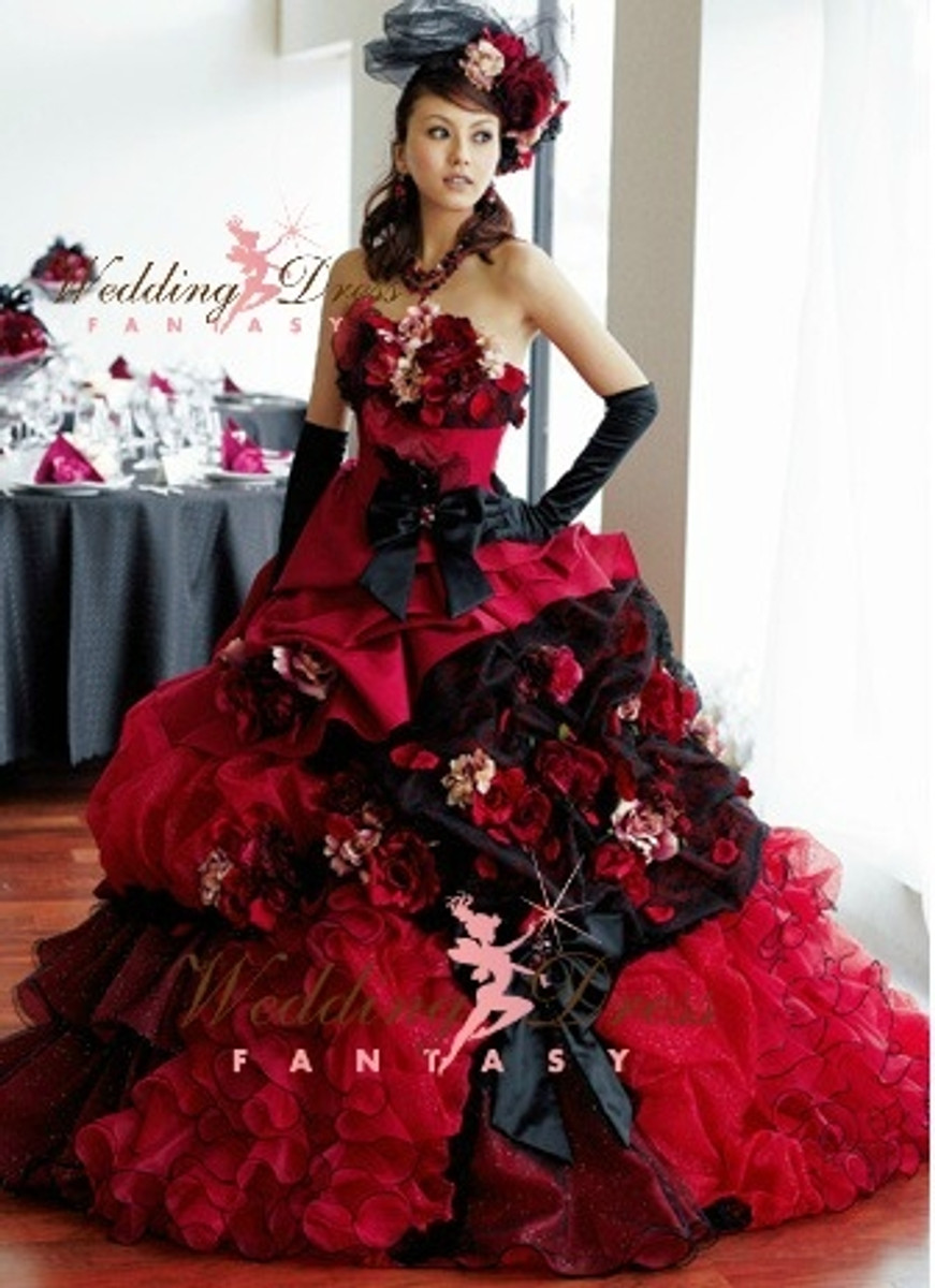 Red and Black Wedding Dress made with Satin and Organza