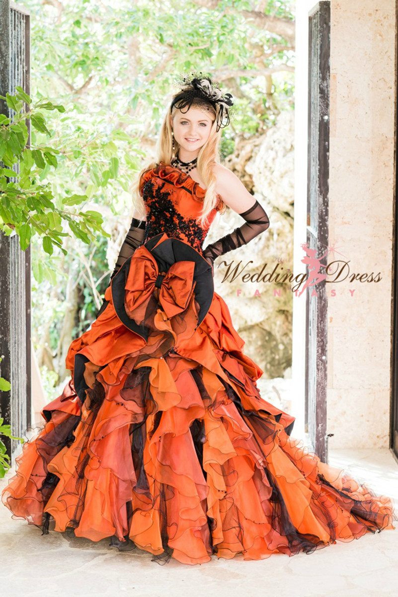 halloween gothic orange and black wedding dress