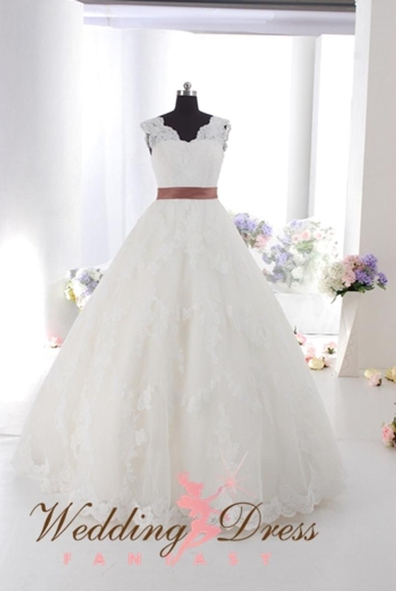Lace Ballgown Wedding Dress with Lace Straps - Wedding Dress Fantasy